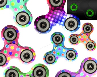 Fidget Spinner Custom Print Glow In Dark Tri Gyro Metal Ball Bearing Toy Gift Rainbow Dancing Light Colorful Dots Teal Blue Pink Purple