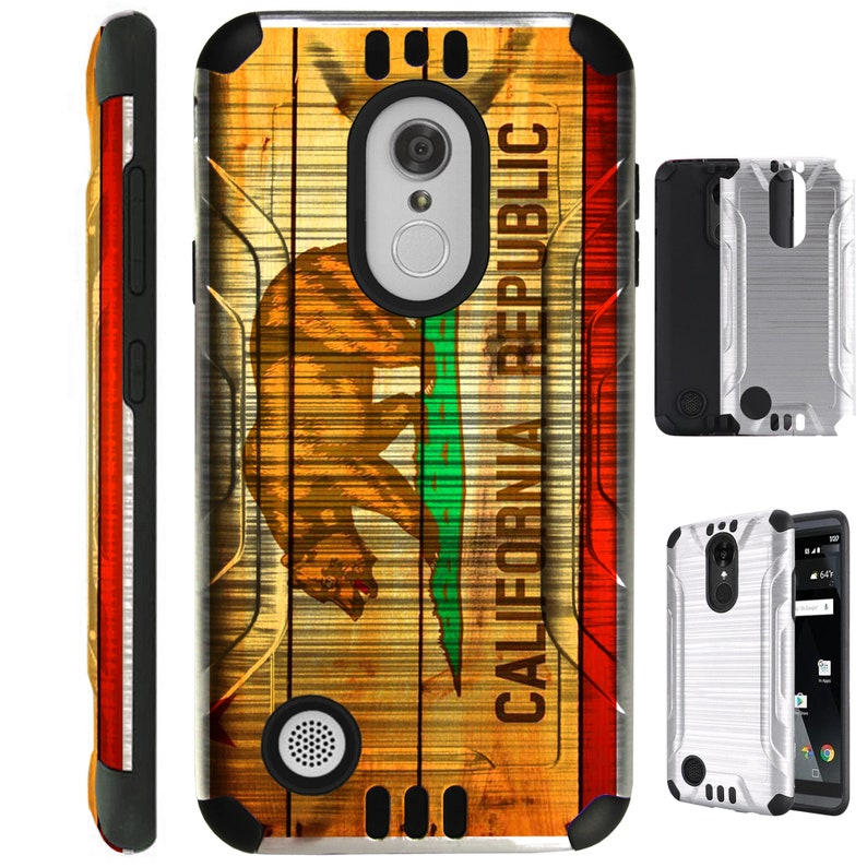 Silver Guard For Aristo Fiesta X Power Charge Fortune 2 Stylo 3 K20 V Plus  Hybrid Dual Layer Armor Cover Slim Case CALIFORNIA FLAG BROWN