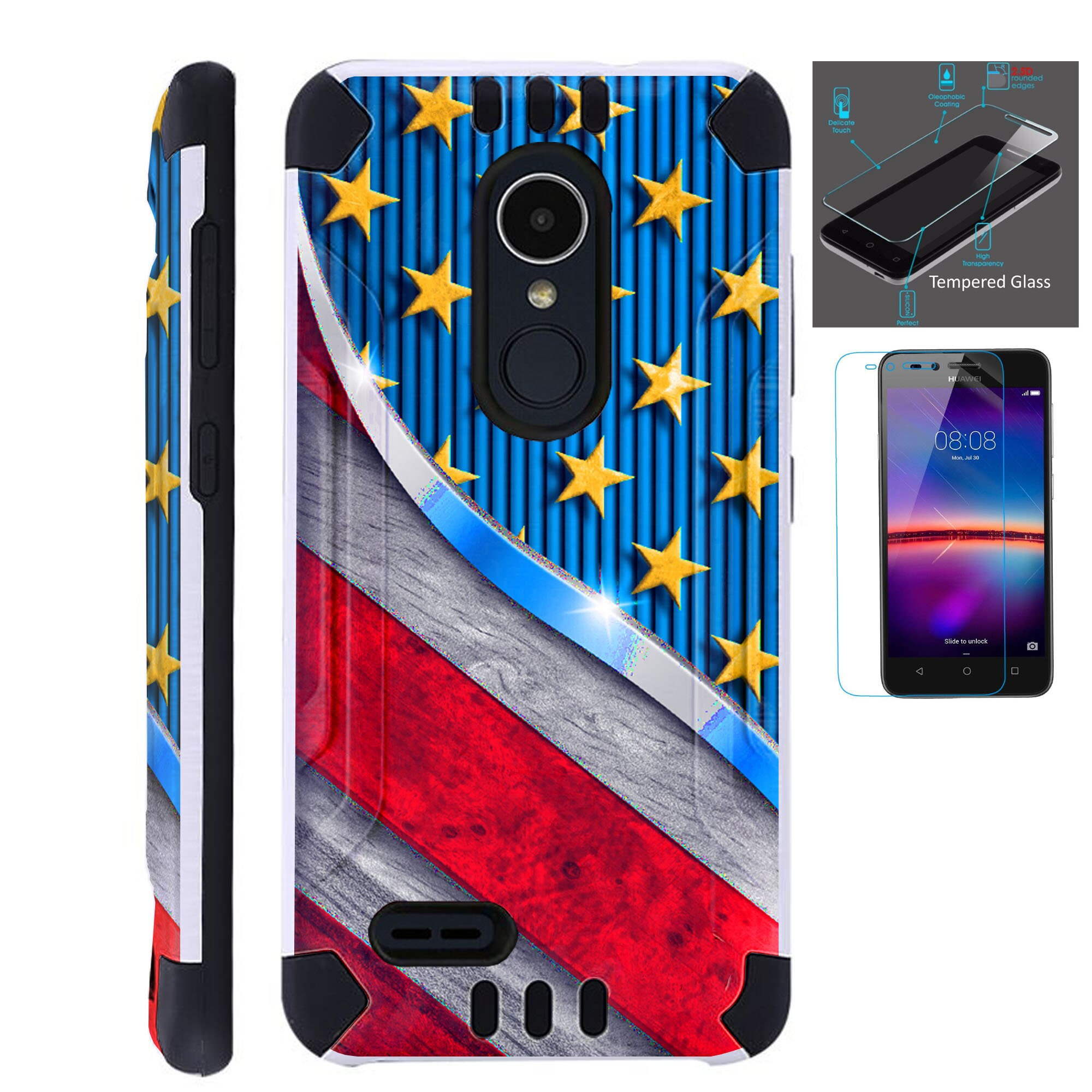 Combat Guard + Tempered Glass For Lg Stylo 3 4 Plus Fiesta 2 Lte Aristo 2  K30 Hybrid Dual Layer Armor Cover Slim Case US FLAG METALLIC