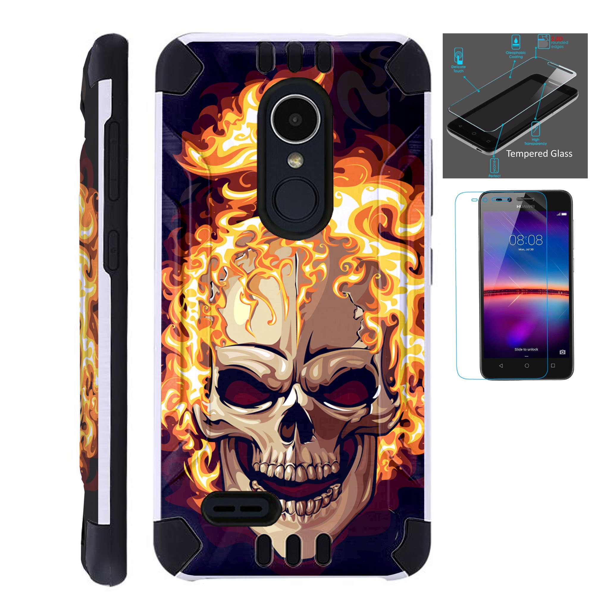 Combat Guard + Tempered Glass For Lg Stylo 3 4 Plus Fiesta 2 Lte Aristo 2  K30 Hybrid Dual Layer Armor Cover Slim Case SKULL FIRE