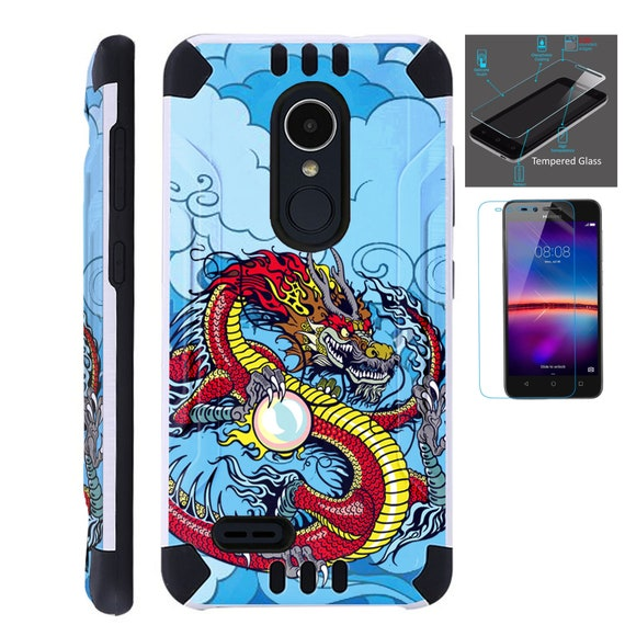 Combat Guard + Tempered Glass For Lg Stylo 3 4 Plus Fiesta 2 Lte Aristo 2  K30 Hybrid Dual Layer Armor Cover Slim Case RED DRAGON