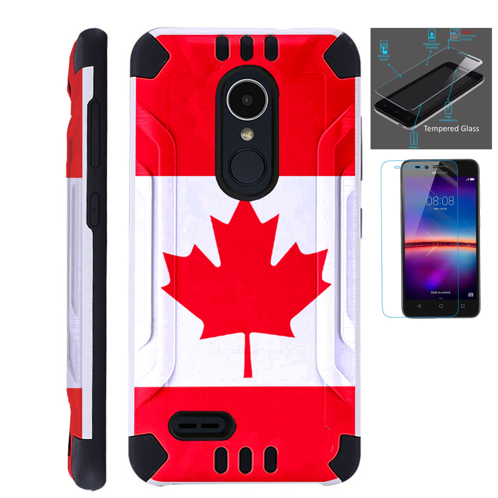 Combat Guard + Tempered Glass For Lg Stylo 3 4 Plus Fiesta 2 Lte Aristo 2  K30 Hybrid Dual Layer Armor Cover Slim Case CANADIAN FLAG
