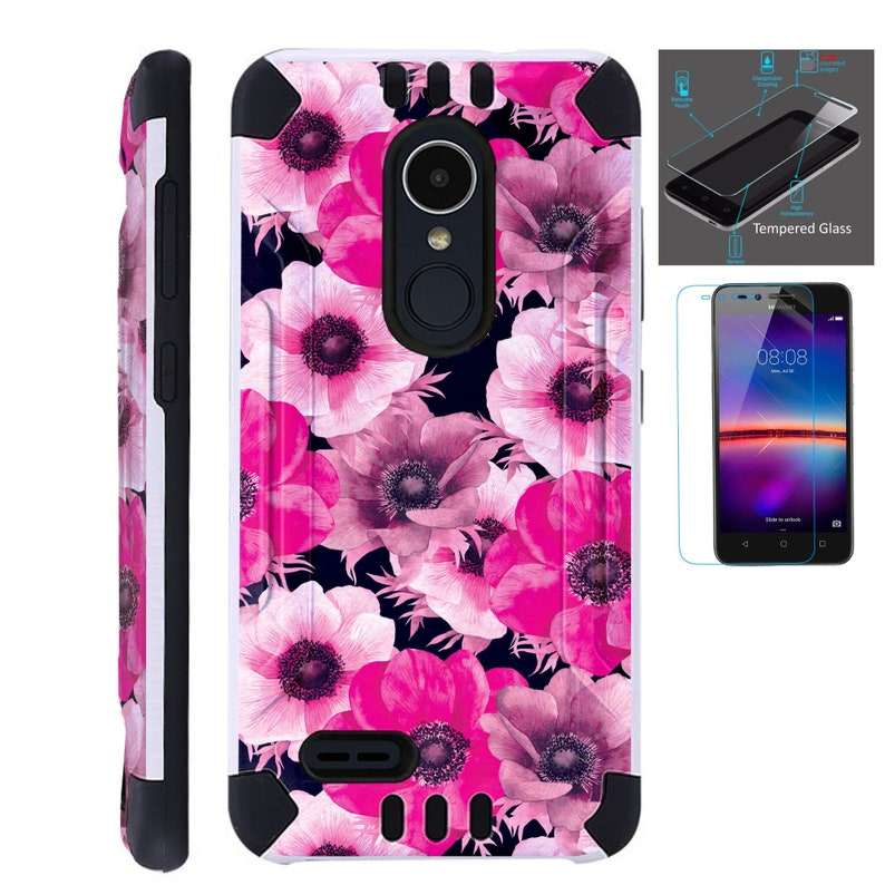 Combat Guard + Tempered Glass For Lg Stylo 3 4 Plus Fiesta 2 Lte Aristo 2  K30 Hybrid Dual Layer Armor Cover Slim Case PINK WHITE FLOWER