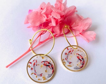 Handmade Koi Fish Gold Dangle Drop Epoxy Resin Earrings - Cute Earrings - Koi Fish Earrings - Handmade Earrings - Goldfish Earrings