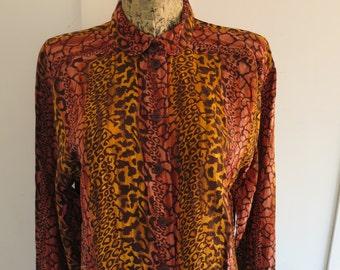 9eb5c00564c5a ESCADA Margaretha Ley Vintage 100% Silk Animal Print Blouse VTG West  Germany Size M or L