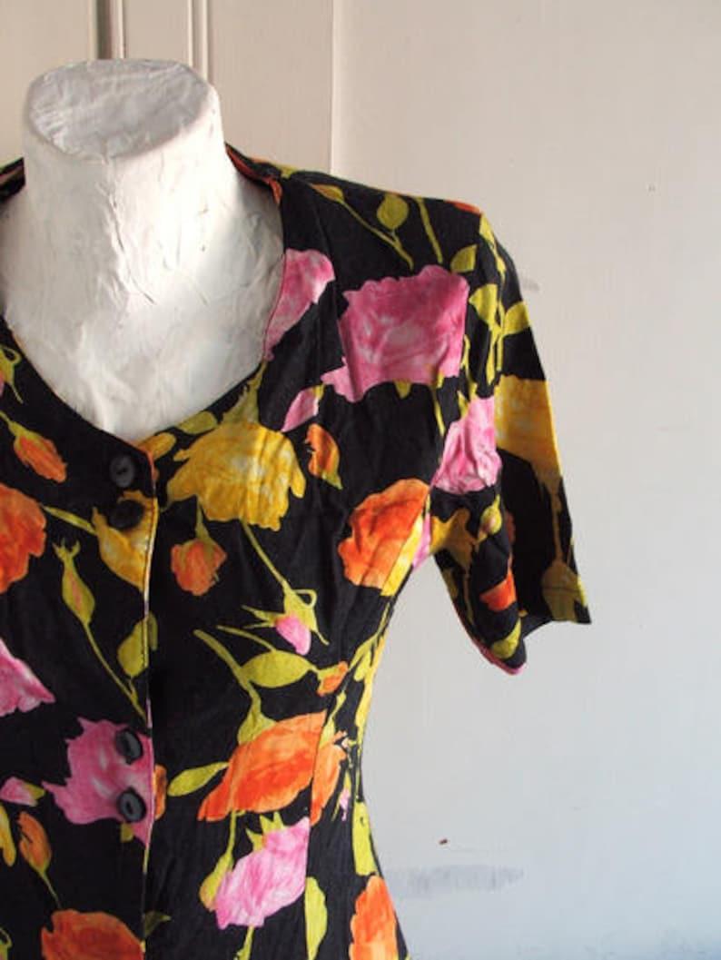 90s Grunge Black Floral Button Dress size S