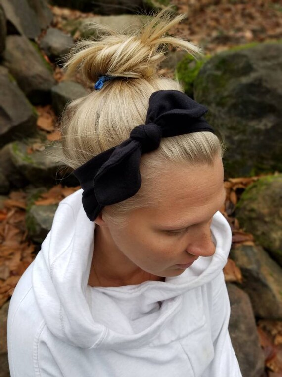Black Knot Bow Headband Adjustable Headband Top Knot  6fa1ce8270a