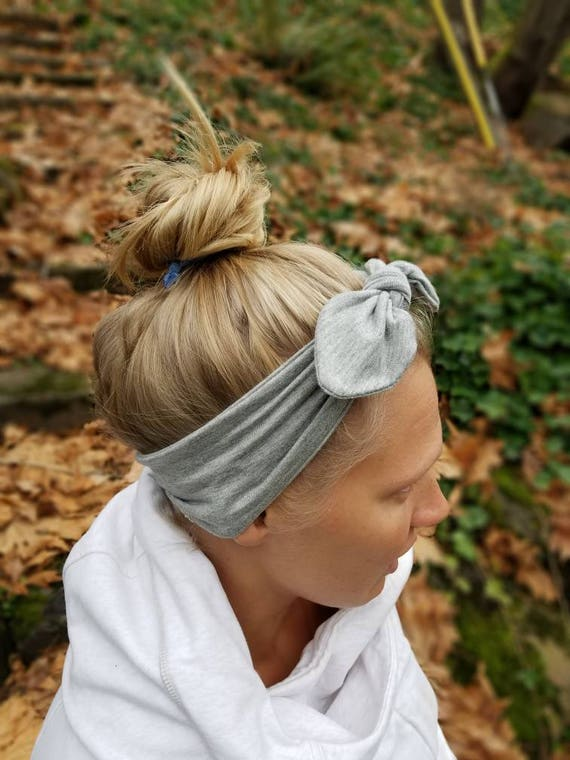 Heather Gray Knot Bow Headband Adjustable Headband-Top Knot  7dd144e0f94