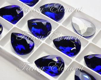 Glass Pear (4320) Cobalt Blue Fancy Stone Rhinestones Pointback Jewelry Beads Foiled Back Teardrop