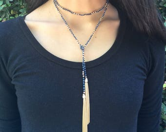 Blue cystal and Gold bead knotted tassel lariat necklace