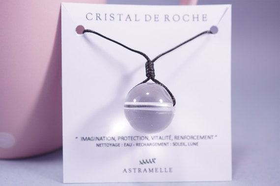 Rock crystal ball necklace black cord