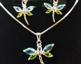 CP152 Vintage Sterling Silver Necklace with Dragonfly Pendant and Matching Dragonfly Earrings