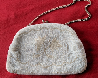 Vintage 50s white beaded evening bag