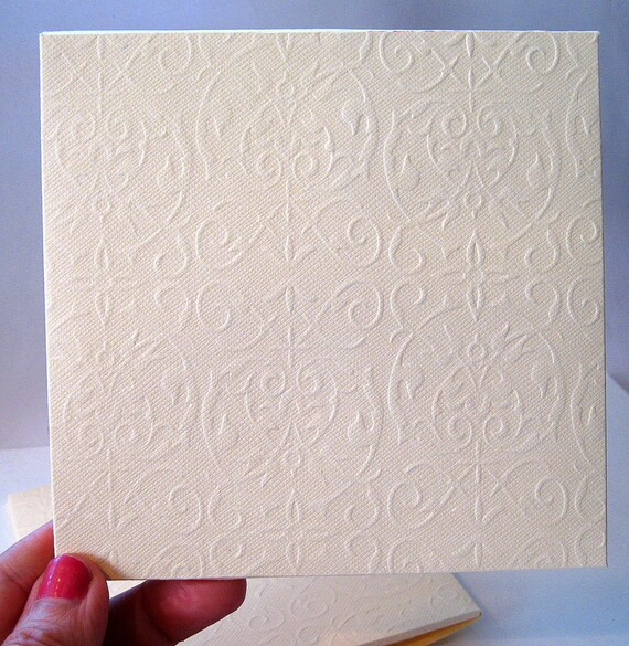 5 Embossed Cards /& Envelopes Lattice Wedding invitations party invitations