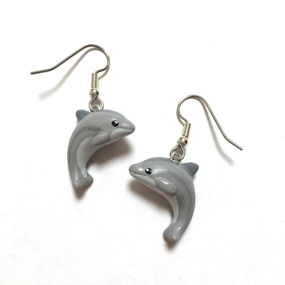 sterling silver earrings ocean animal earrings Silver Dolphin Charms silver dolphin charm jewelry 925 Silver Dolphin lover earring gift