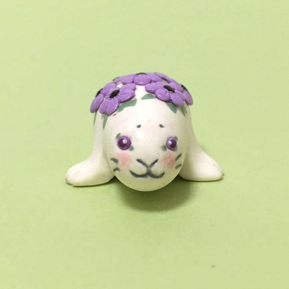 Flower Animal Seal Miniature Plant and Animal Lover Gift Mini Purple Flowers Tiny Purple Flowers Polymer Clay Animal