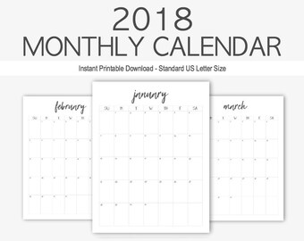 2018 monthly calendar yearly calendar home management calendar printable goal setting year at a glance 2018 planner goal planner