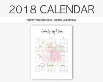 2018 yearly calendar yearly calendar home management calendar printable goal setting year at a glance 2018 planner twenty eighteen