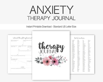 anxiety therapy journal instant printable download mental health depression goal planner eating disorder anorexia ptsd grief