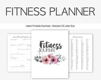 Fitness Planner: Home Management Binder, Therapy Journal, Health, Weight Loss, Depression, Anxiety, Eating Disorder, Printable, Exercise