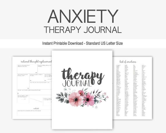 anxiety therapy journal instant printable download mental etsy