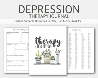 Depression Therapy Journal: Instant Printable Download, Anxiety, Mental Health, Cognitive Behavior, Self Esteem, Daily Food, Sleep Diary