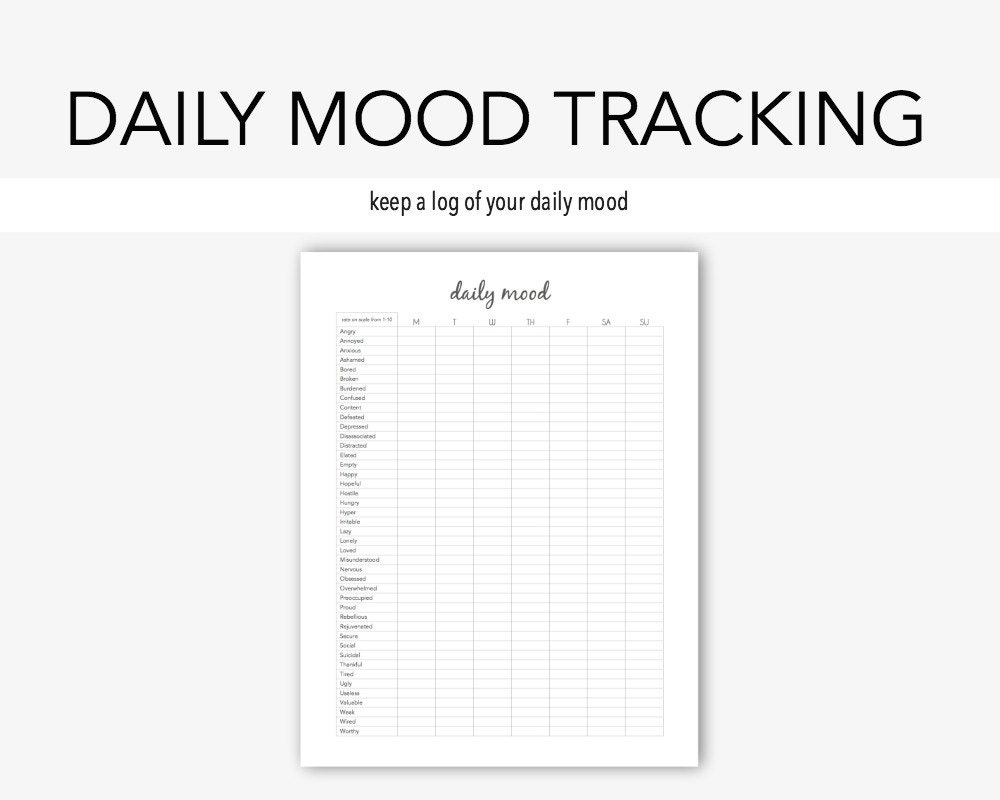 daily mood mental health depression anxiety therapy etsy