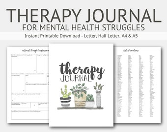 Therapy Journal for Mental Health Struggles: Depression, Anxiety, Eating Disorders, Goal Planner, Self Harm, Grief, PTSD, Bipolar, Addiction
