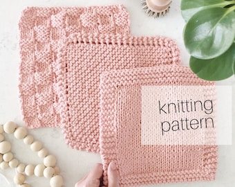 Classic Dish Cloths 3-in-1 Knitting Pattern | Home, Baby, Dish Cloths, Burp Cloths, Kitchen, Instant Download, PDF Instructions
