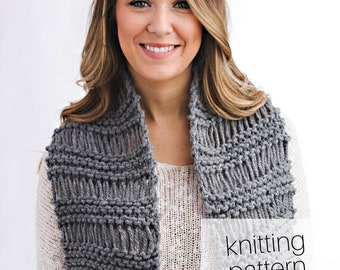 Knitting Pattern - Drop Stitch Scarf with Fringe, Winter Fashion Accessory, DIY Instructions, Instant Download