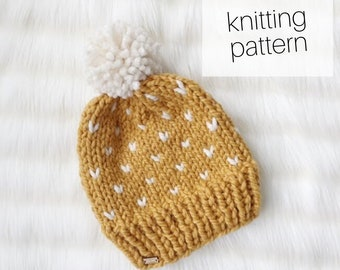 Knitting Pattern - Sweetheart Beanie // Chunky Knit Hat, Little Hearts, Winter Accessory, DIY Instructions, Instant Download