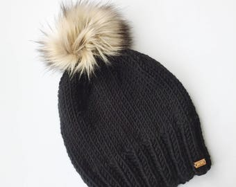 Knitting Pattern - Knit Hat with Faux Fur Pom Pom // Campfire Hat