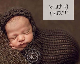 Knitting Pattern - Newborn Hooded Cocoon // Newborn Photography Prop, DIY Instructions, Instant Download