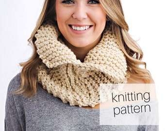 Knitting Pattern - Open Collar Cowl | Cozy Winter Accessory, DIY Instructions, Instant Download