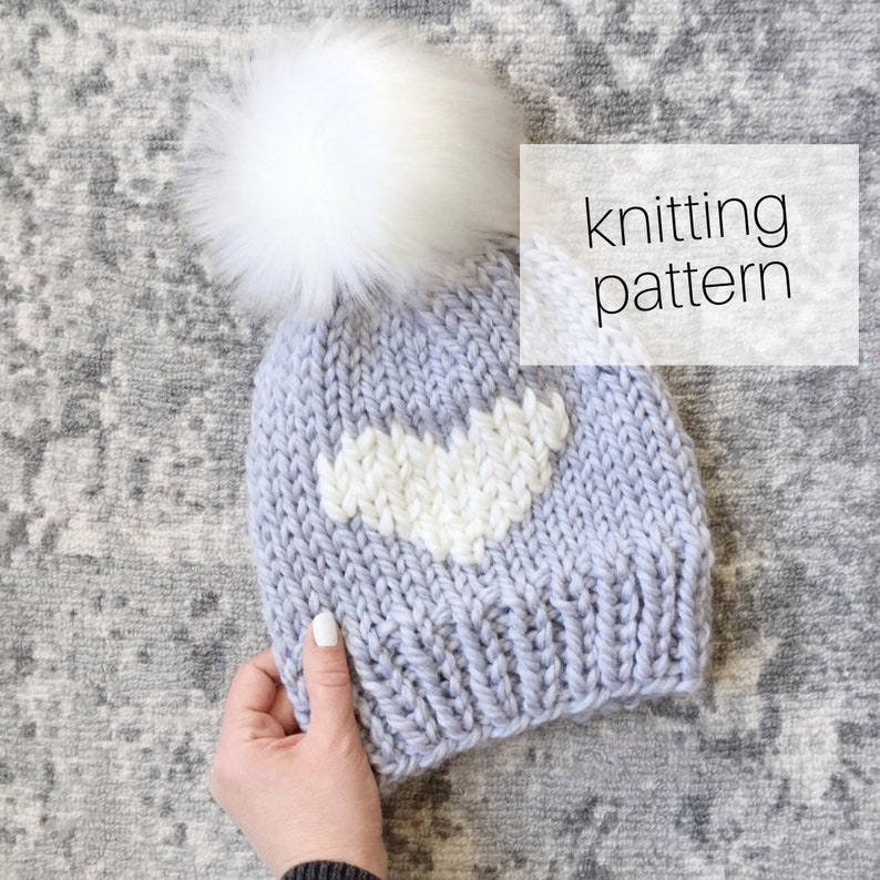 c15997c30 Knitting Pattern - Heart Hat // Big Love Beanie, Cozy Hat, Winter Fashion,  DIY Instructions, Instant Download