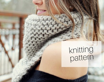 Knitting Pattern - Cozy Up Cowl // Bandana Scarf, Triangle Scarf, Winter Fashion, DIY Instructions, Instant Download