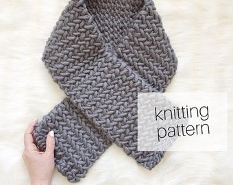 Knitting Pattern - Easy Herringbone Scarf // Cozy Winter Accessory, DIY Instructions, Winter Fashion, Instant Download