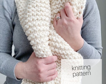 Knitting Pattern - Oversized Chunky Scarf //Knit, Winter, Fashion, DIY Instructions, Instant Download