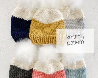 Knitting Pattern - Colour-Dipped Beanie // Baby to Adult, Cozy, Hat, Winter Fashion, DIY Instructions, Instant Download
