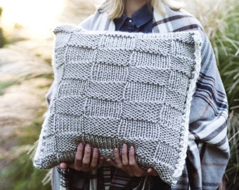 Knitting Pattern - Pillow Case Checkerboard Design, Home Knits, Cozy, DIY Instructions, Instant Download, Hygge Home