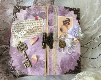album Scrapbooking vintage ou junk journal 32 pages personnalisable prénom très beau cadeau de st Valentin