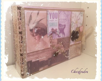 Vintage purple and Kraft multipochettes diary or PHOTO album