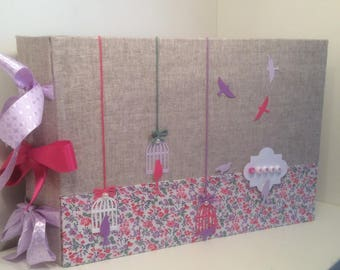 """Guestbook birth or christening """"so pretty"""" linen and tissue very girly"""