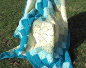 Turquoise and yellow blanket knitted hand crochet bedspread 2 places
