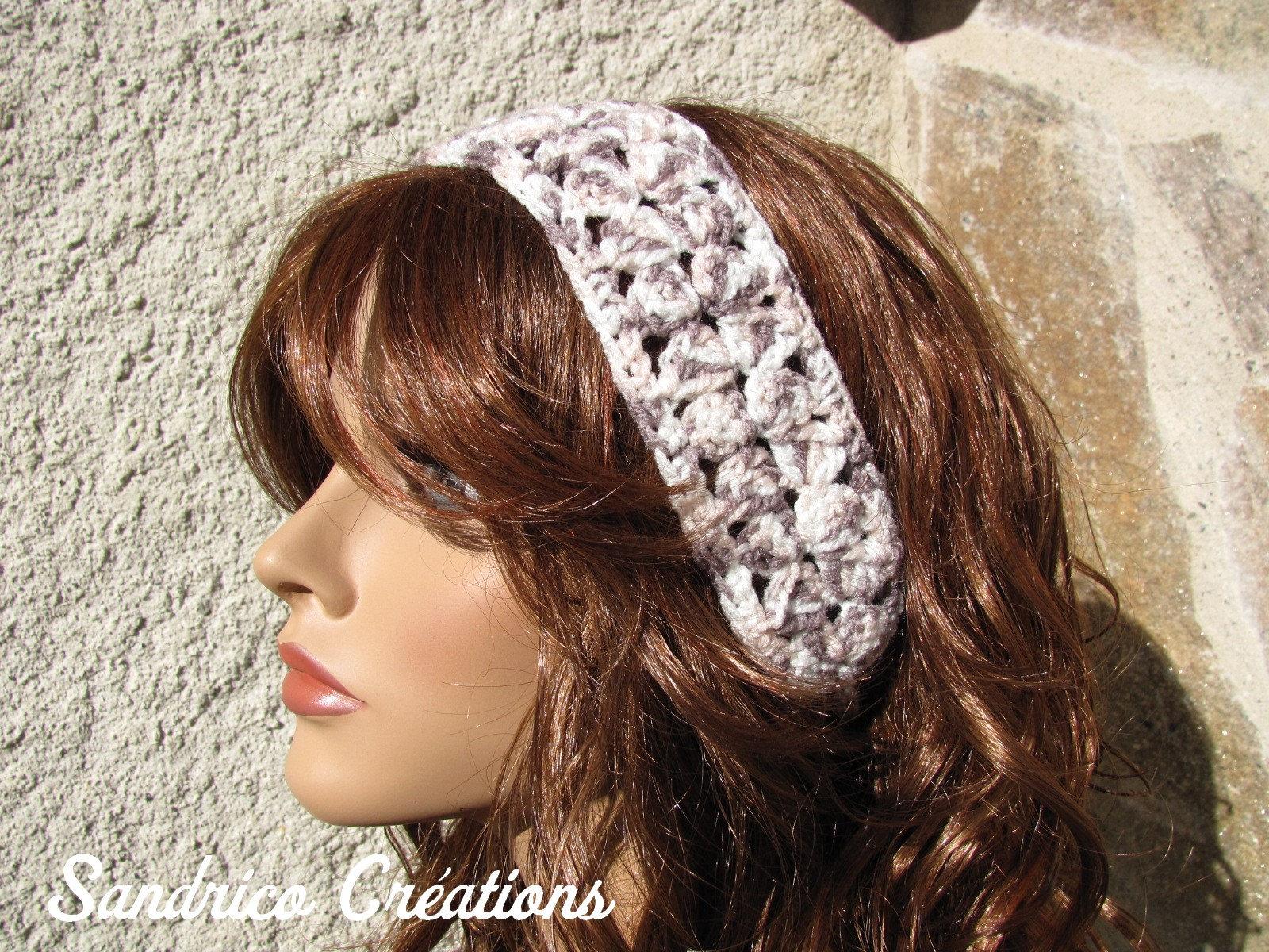 Thin belt and headband beige pink knitted hand crochet ... Quailman Belt Headband