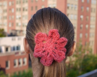 Red Retro Flower Ponytail Holder Hair Elastic Hair Tie