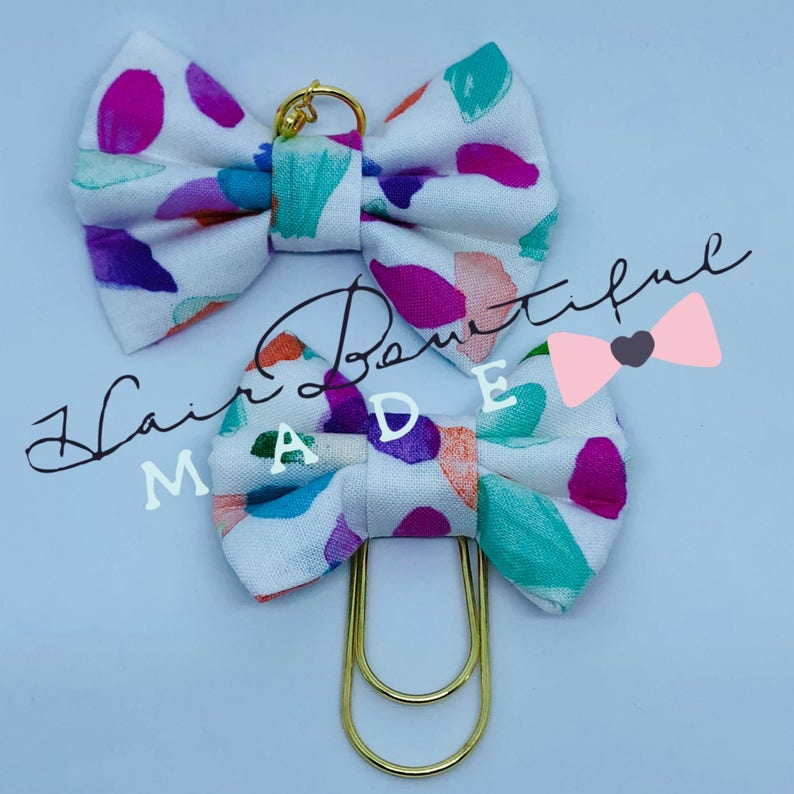 Fabric Bow Paper Clip Planner Bow Charm Multi Dot Fabric Bow Charm Traveler/'s Notebook Bow Charm Bows