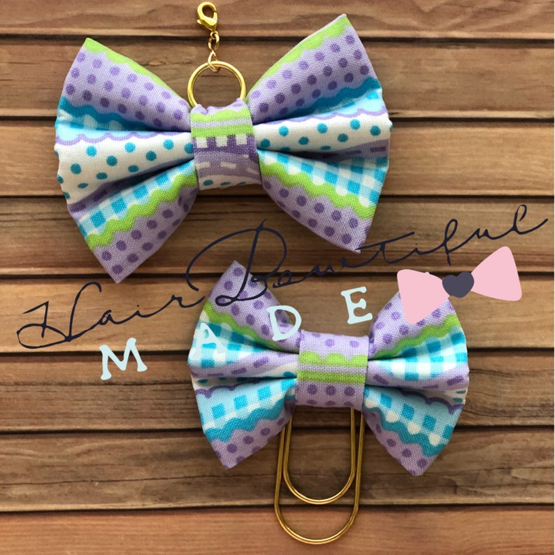 Traveler/'s Notebook Bow Charm Planner Bow Charm Gingham Stripe-Lime Fabric Bow Charm Fabric Bow Paper Clip