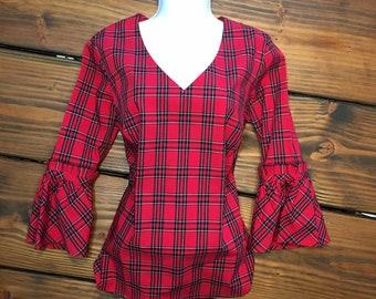 15f9c0cb Scottish Tartan Shirt / Plaid Blouse / Red Plaid Tailored Blouses / Vintage  fit blouses / Flare sleeve / Ruffled sleeve / Scottish Tartan
