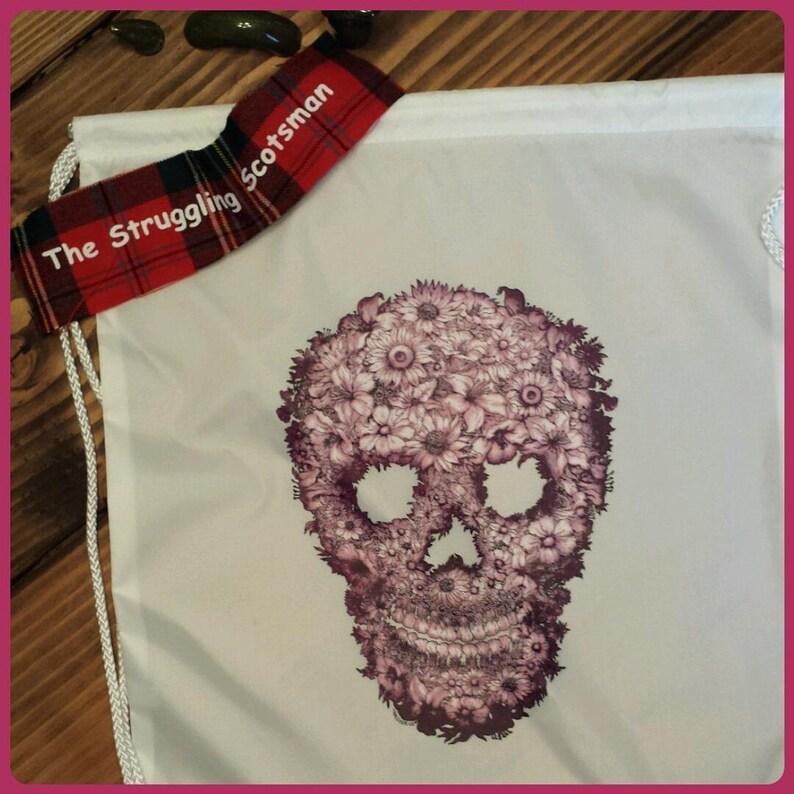 Purple Flower Sugar Skull Backpack Sugar Skull DrawstringSugar Skull Book Bag Dia de los Muertos  Back to School Skull Candy